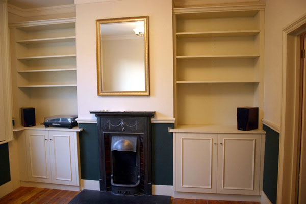 Victorian style fitted alcove cupboards and shelves